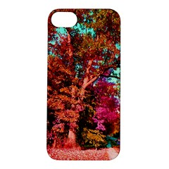 Abstract Fall Trees Saturated With Orange Pink And Turquoise Apple iPhone 5S/ SE Hardshell Case
