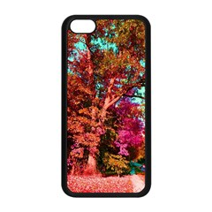 Abstract Fall Trees Saturated With Orange Pink And Turquoise Apple iPhone 5C Seamless Case (Black)
