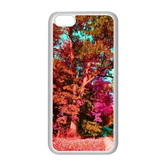 Abstract Fall Trees Saturated With Orange Pink And Turquoise Apple Iphone 5c Seamless Case (white)