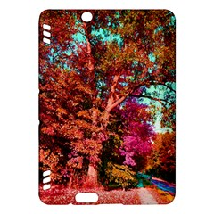 Abstract Fall Trees Saturated With Orange Pink And Turquoise Kindle Fire Hdx Hardshell Case