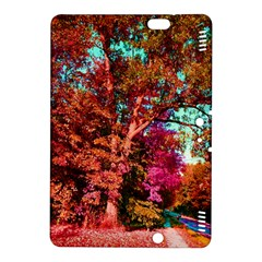 Abstract Fall Trees Saturated With Orange Pink And Turquoise Kindle Fire Hdx 8 9  Hardshell Case