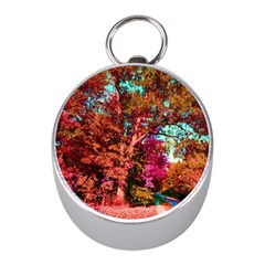 Abstract Fall Trees Saturated With Orange Pink And Turquoise Mini Silver Compasses