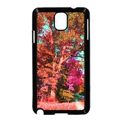 Abstract Fall Trees Saturated With Orange Pink And Turquoise Samsung Galaxy Note 3 Neo Hardshell Case (black)
