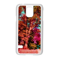 Abstract Fall Trees Saturated With Orange Pink And Turquoise Samsung Galaxy S5 Case (white)