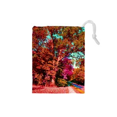 Abstract Fall Trees Saturated With Orange Pink And Turquoise Drawstring Pouches (Small)