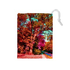 Abstract Fall Trees Saturated With Orange Pink And Turquoise Drawstring Pouches (medium)