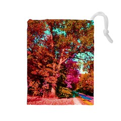 Abstract Fall Trees Saturated With Orange Pink And Turquoise Drawstring Pouches (Large)