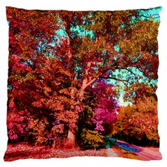 Abstract Fall Trees Saturated With Orange Pink And Turquoise Large Flano Cushion Case (one Side)