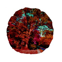 Abstract Fall Trees Saturated With Orange Pink And Turquoise Standard 15  Premium Flano Round Cushions