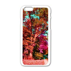 Abstract Fall Trees Saturated With Orange Pink And Turquoise Apple Iphone 6/6s White Enamel Case
