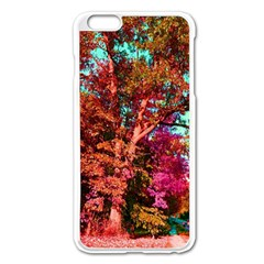 Abstract Fall Trees Saturated With Orange Pink And Turquoise Apple Iphone 6 Plus/6s Plus Enamel White Case