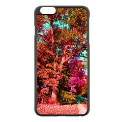 Abstract Fall Trees Saturated With Orange Pink And Turquoise Apple Iphone 6 Plus/6s Plus Black Enamel Case
