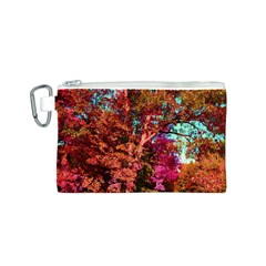 Abstract Fall Trees Saturated With Orange Pink And Turquoise Canvas Cosmetic Bag (s)