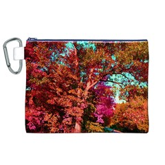 Abstract Fall Trees Saturated With Orange Pink And Turquoise Canvas Cosmetic Bag (XL)