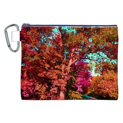 Abstract Fall Trees Saturated With Orange Pink And Turquoise Canvas Cosmetic Bag (XXL)