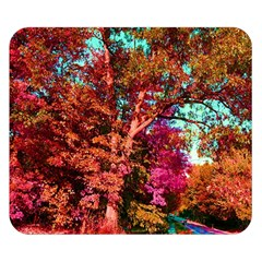 Abstract Fall Trees Saturated With Orange Pink And Turquoise Double Sided Flano Blanket (Small)
