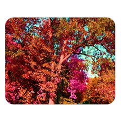 Abstract Fall Trees Saturated With Orange Pink And Turquoise Double Sided Flano Blanket (Large)