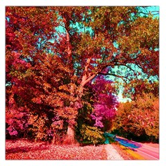 Abstract Fall Trees Saturated With Orange Pink And Turquoise Large Satin Scarf (Square)