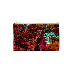Abstract Fall Trees Saturated With Orange Pink And Turquoise Cosmetic Bag (xs)
