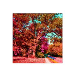 Abstract Fall Trees Saturated With Orange Pink And Turquoise Satin Bandana Scarf