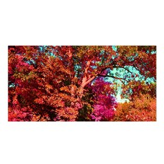 Abstract Fall Trees Saturated With Orange Pink And Turquoise Satin Shawl