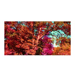 Abstract Fall Trees Saturated With Orange Pink And Turquoise Satin Wrap