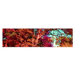 Abstract Fall Trees Saturated With Orange Pink And Turquoise Satin Scarf (Oblong)