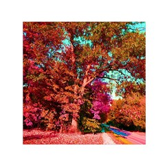 Abstract Fall Trees Saturated With Orange Pink And Turquoise Small Satin Scarf (Square)