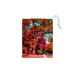 Abstract Fall Trees Saturated With Orange Pink And Turquoise Drawstring Pouches (XS)