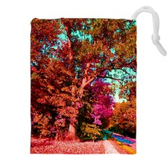 Abstract Fall Trees Saturated With Orange Pink And Turquoise Drawstring Pouches (xxl)