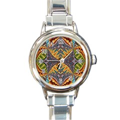 Kaleidoscopic Pattern Colorful Kaleidoscopic Pattern With Fabric Texture Round Italian Charm Watch