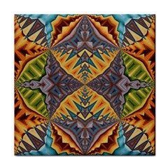 Kaleidoscopic Pattern Colorful Kaleidoscopic Pattern With Fabric Texture Tile Coasters