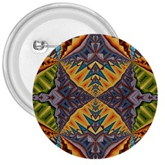 Kaleidoscopic Pattern Colorful Kaleidoscopic Pattern With Fabric Texture 3  Buttons