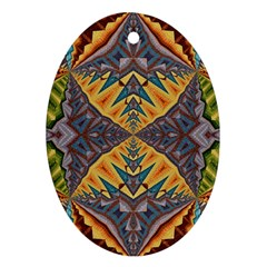 Kaleidoscopic Pattern Colorful Kaleidoscopic Pattern With Fabric Texture Ornament (Oval)