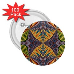 Kaleidoscopic Pattern Colorful Kaleidoscopic Pattern With Fabric Texture 2 25  Buttons (100 Pack)