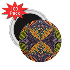 Kaleidoscopic Pattern Colorful Kaleidoscopic Pattern With Fabric Texture 2 25  Magnets (100 Pack)