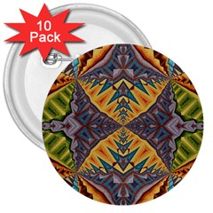 Kaleidoscopic Pattern Colorful Kaleidoscopic Pattern With Fabric Texture 3  Buttons (10 pack)
