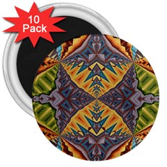 Kaleidoscopic Pattern Colorful Kaleidoscopic Pattern With Fabric Texture 3  Magnets (10 Pack)