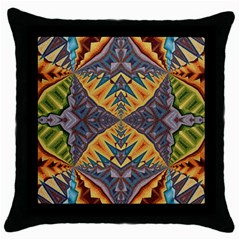 Kaleidoscopic Pattern Colorful Kaleidoscopic Pattern With Fabric Texture Throw Pillow Case (Black)