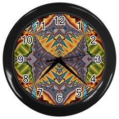Kaleidoscopic Pattern Colorful Kaleidoscopic Pattern With Fabric Texture Wall Clocks (Black)