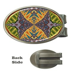 Kaleidoscopic Pattern Colorful Kaleidoscopic Pattern With Fabric Texture Money Clips (oval)
