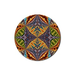 Kaleidoscopic Pattern Colorful Kaleidoscopic Pattern With Fabric Texture Rubber Coaster (round)