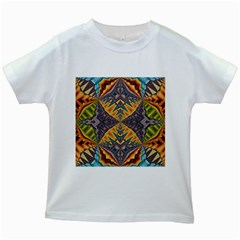 Kaleidoscopic Pattern Colorful Kaleidoscopic Pattern With Fabric Texture Kids White T Shirts