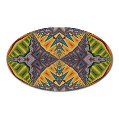 Kaleidoscopic Pattern Colorful Kaleidoscopic Pattern With Fabric Texture Oval Magnet