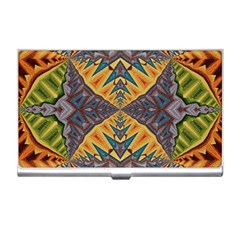 Kaleidoscopic Pattern Colorful Kaleidoscopic Pattern With Fabric Texture Business Card Holders