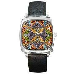 Kaleidoscopic Pattern Colorful Kaleidoscopic Pattern With Fabric Texture Square Metal Watch