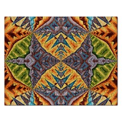 Kaleidoscopic Pattern Colorful Kaleidoscopic Pattern With Fabric Texture Rectangular Jigsaw Puzzl