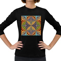 Kaleidoscopic Pattern Colorful Kaleidoscopic Pattern With Fabric Texture Women s Long Sleeve Dark T-Shirts