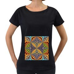 Kaleidoscopic Pattern Colorful Kaleidoscopic Pattern With Fabric Texture Women s Loose-Fit T-Shirt (Black)