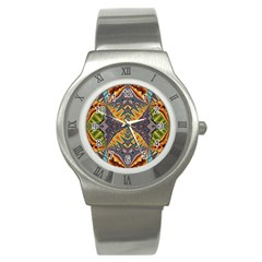 Kaleidoscopic Pattern Colorful Kaleidoscopic Pattern With Fabric Texture Stainless Steel Watch